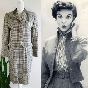 VTG 80s JH Collectibles Plaid Wool Skirt Suit